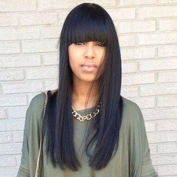 Fascinating Women's Long Straight Full Bang Human Hair Wig - BLACK