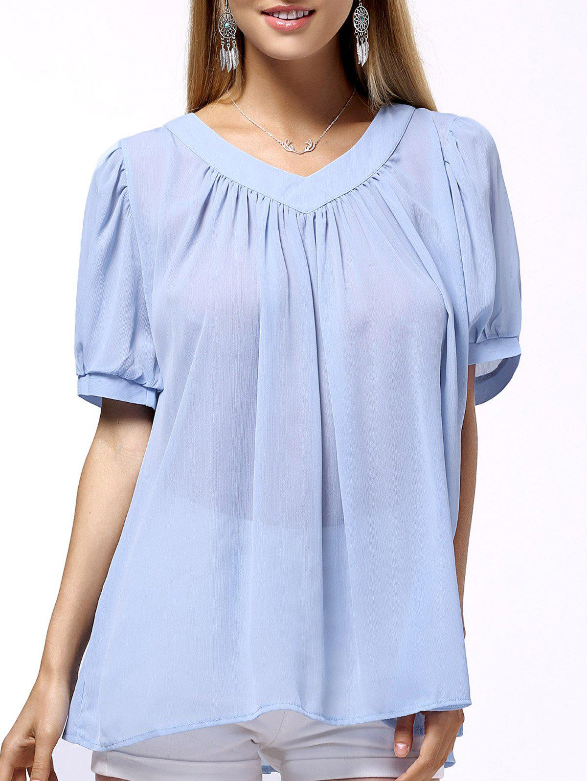 Frilled Pure Color Chiffon Women's Blouse