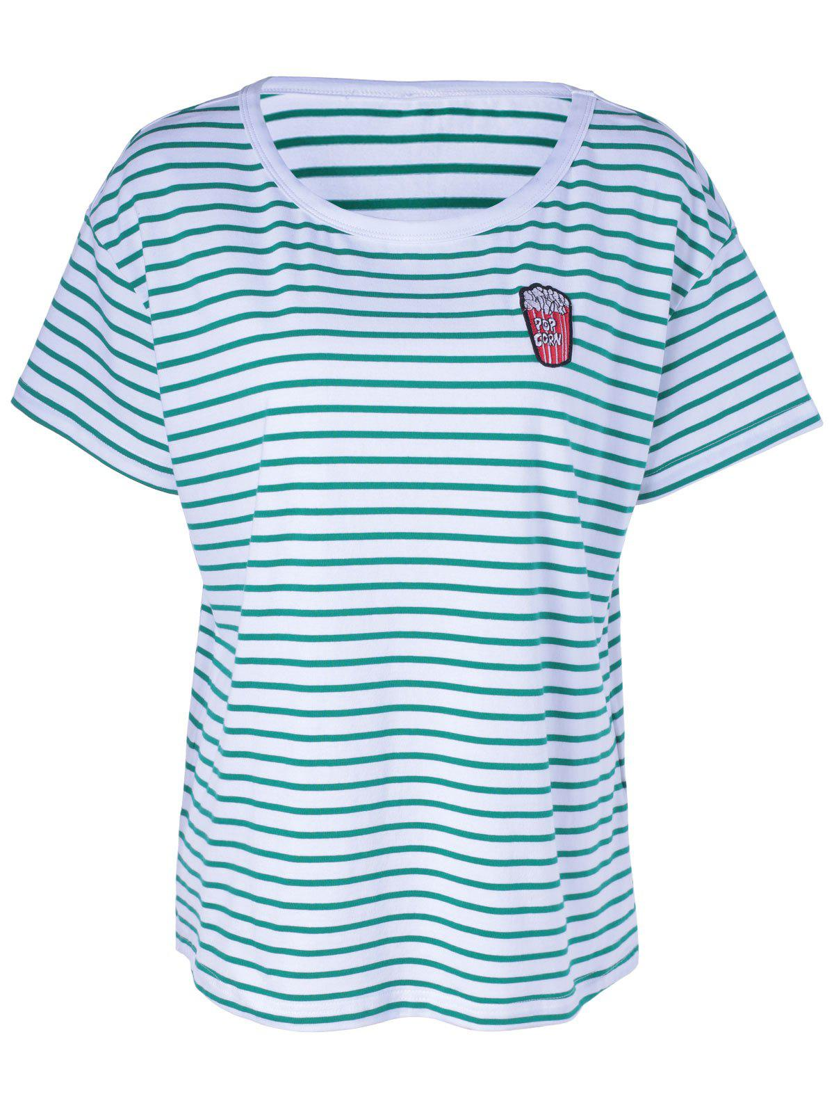 Contracted Stripe T For Women - WHITE/GREEN L