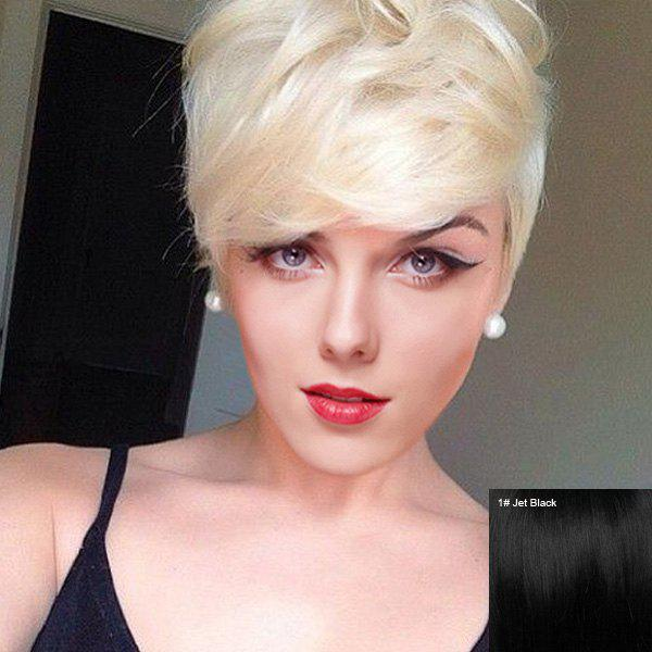 Gorgeous Short Bouffant Capless Side Bang Women's Human Hair Wig - JET BLACK