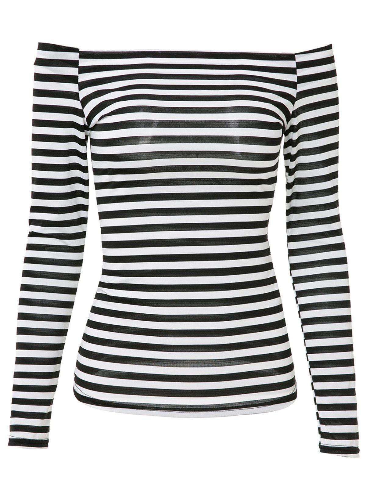 Attractive Striped Off-The-Shoulder Long Sleeve Bodycon T-Shirt For Women - WHITE/BLACK XL