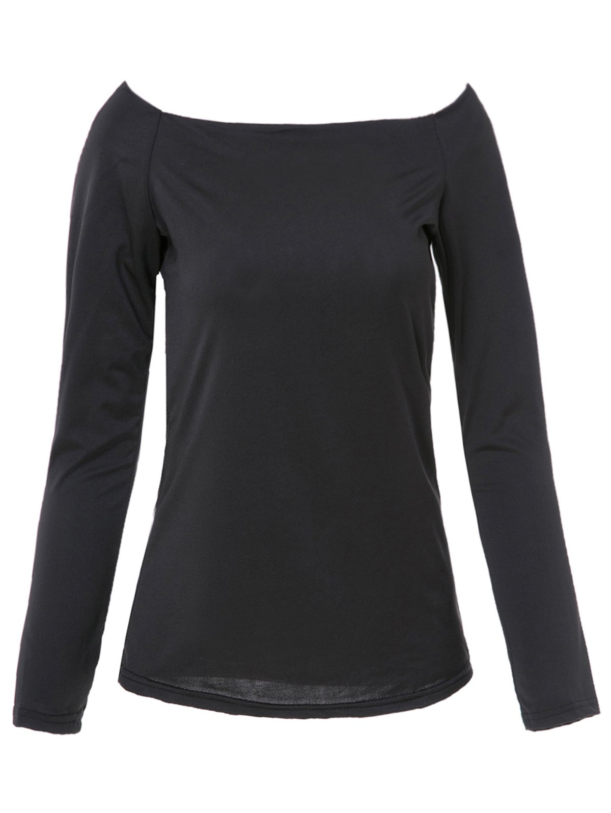 Trendy Solid Color Off-The-Shoulder Bodycon T-Shirt For Women - BLACK S