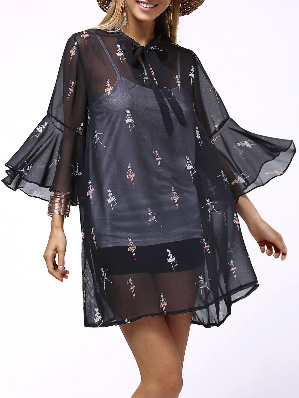Print See-Through Dress and All-Matched Sundress Twinset - BLACK 4XL