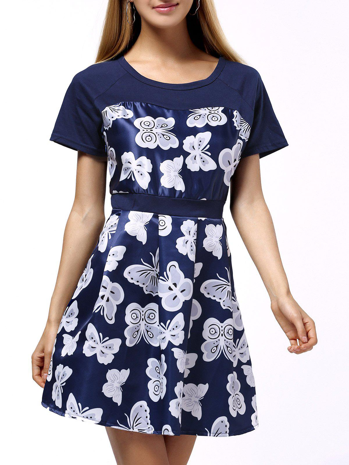 Butterflies Pattern Waisted Shape Women's Dress - BLUE 4XL