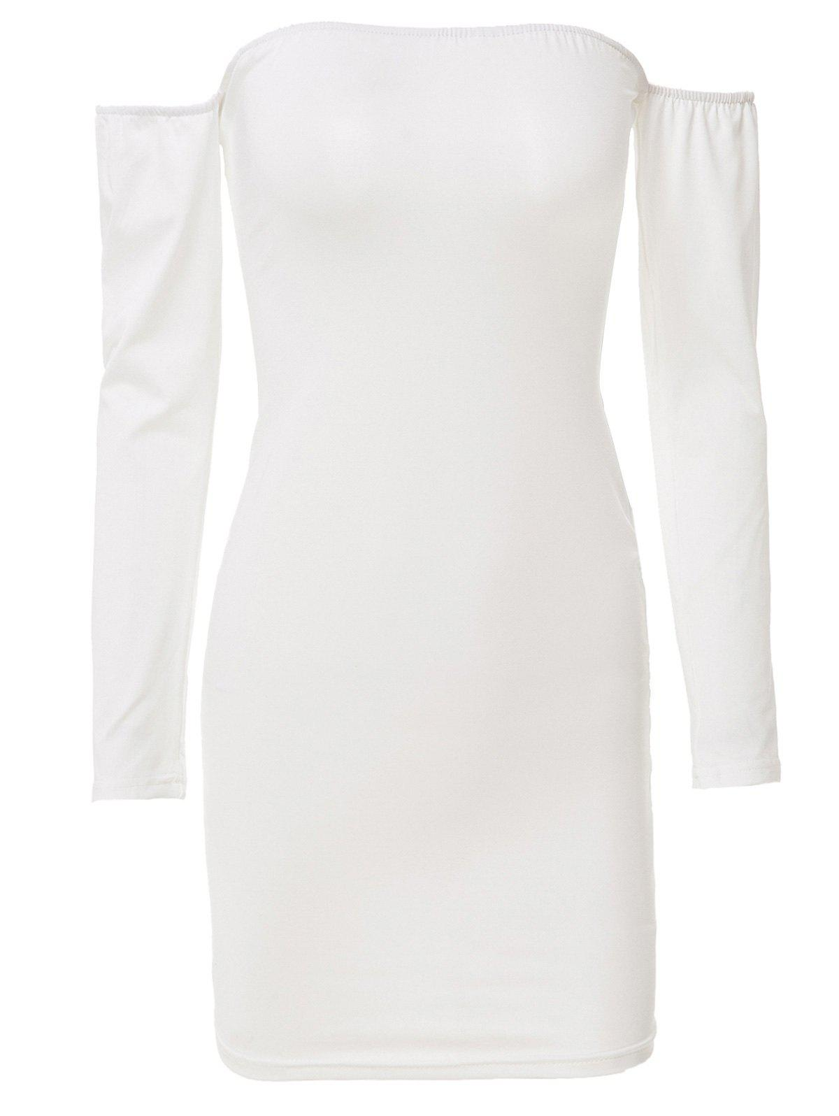 Stuning Off-The-Shoulder Long Sleeve Solid Color Bodycon Women's Dress - WHITE ONE SIZE(FIT SIZE XS TO M)
