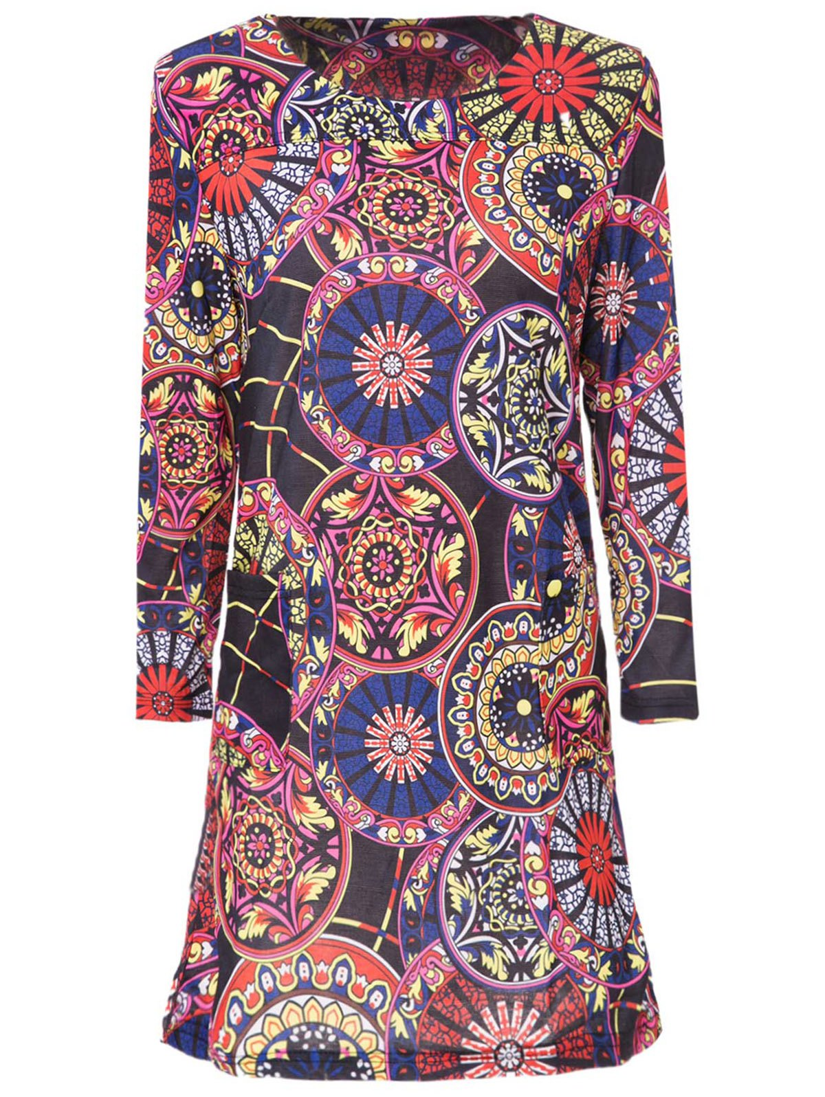 Stylish Scoop Neck 3/4 Sleeve Printed Slimming Women's Dress - M COLORMIX
