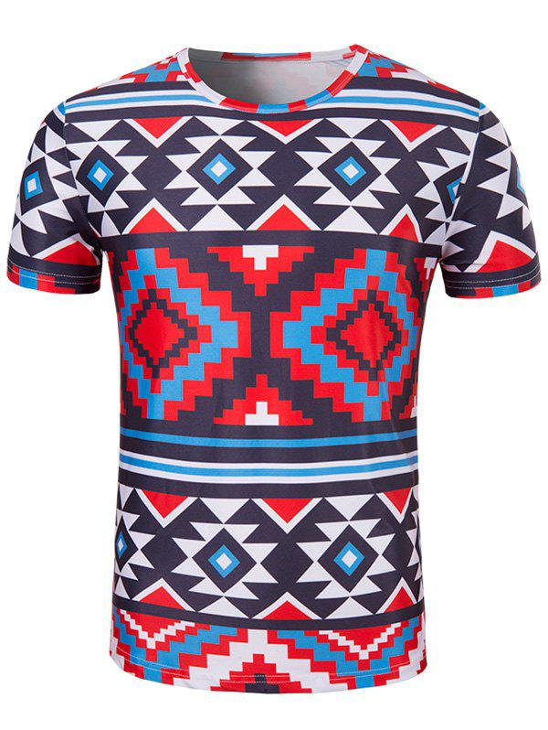 Men's Slimming Printed Collarless Short Sleeves - COLORMIX 2XL