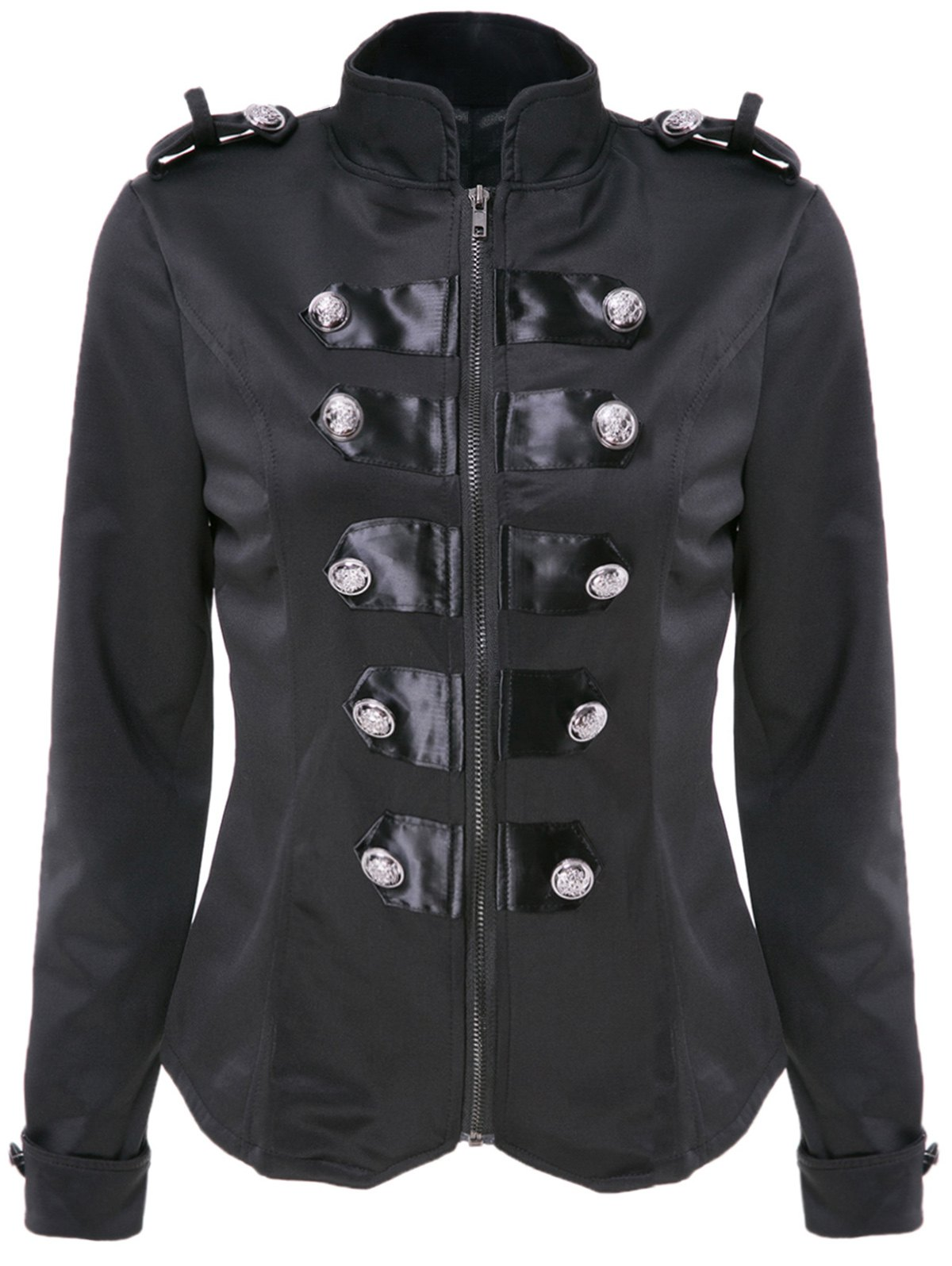 Stylish Women's Stand Collar Long Sleeve Double-Breasted Slimming Jacket 160493304