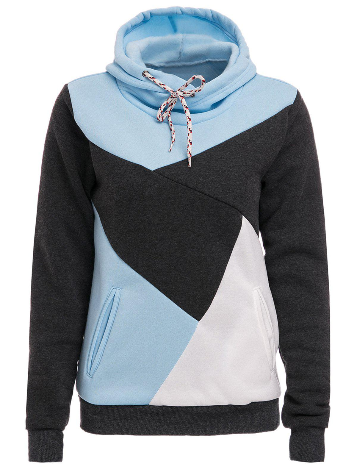 Chic Hooded Long Sleeve Pocket Design Color Block Women's Hoodie - BLUE/WHITE M