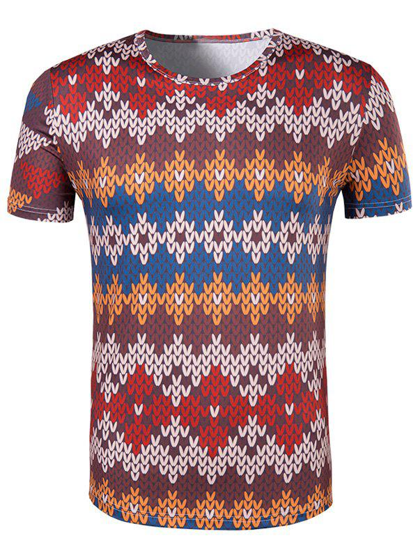 Men's Slimming National Style Printed Collarless Short Sleeves