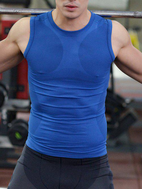 Quick-Dry Fitted Round Neck Training Men's Tank Top - BLUE XL