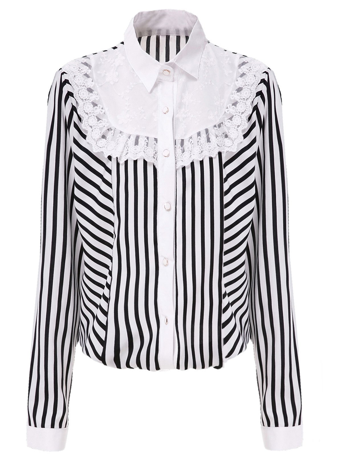 Chic Shirt Collar Long Sleeve Striped Lace Design Women's Shirt - WHITE/BLACK M