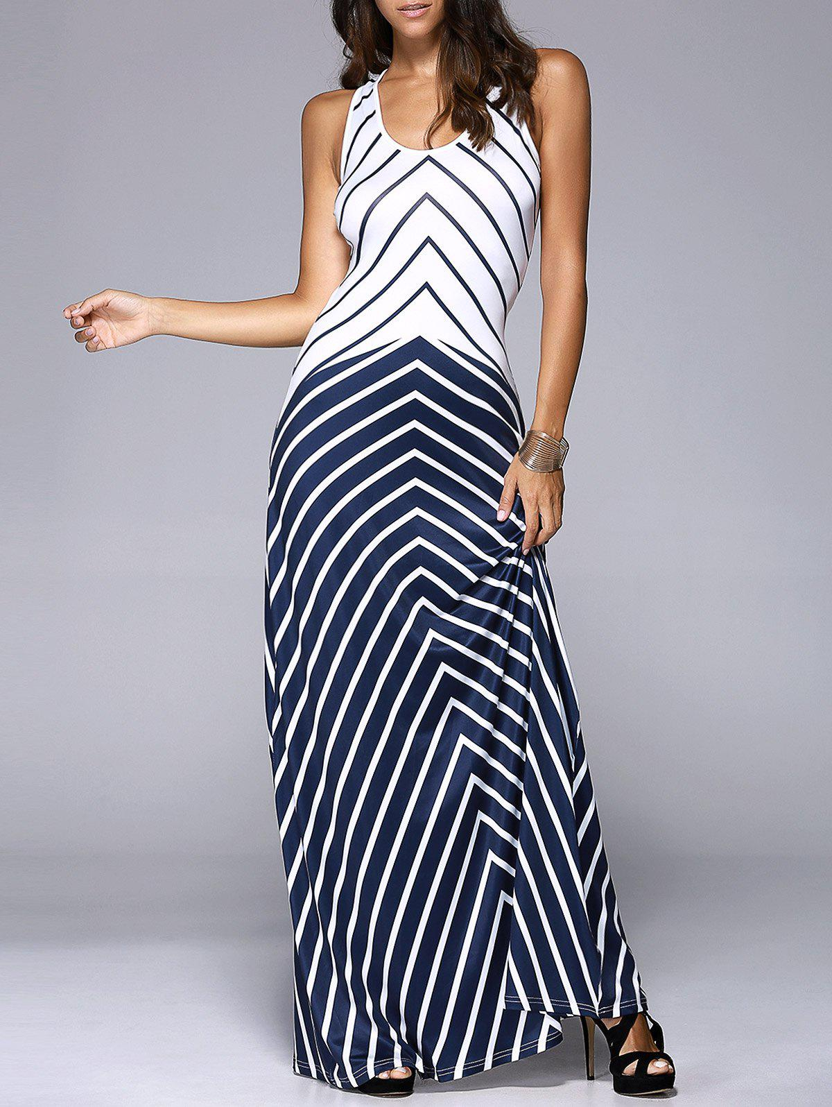 Women's Slimming U-Neck Cut Out Chevron Tank Maxi Dress - PURPLISHBLUE / WHITE XL