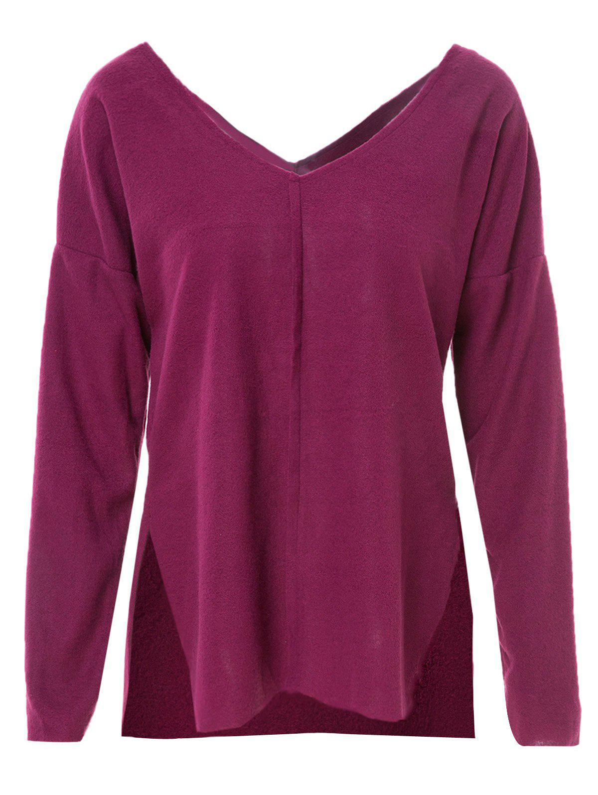 Stylish V-Neck Long Sleeve Furcal Solid Color Women's T-Shirt - DEEP RED M