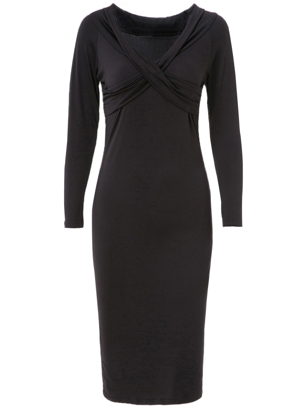 Pure Color Long Sleeve V-Neck Dress For Women - BLACK S