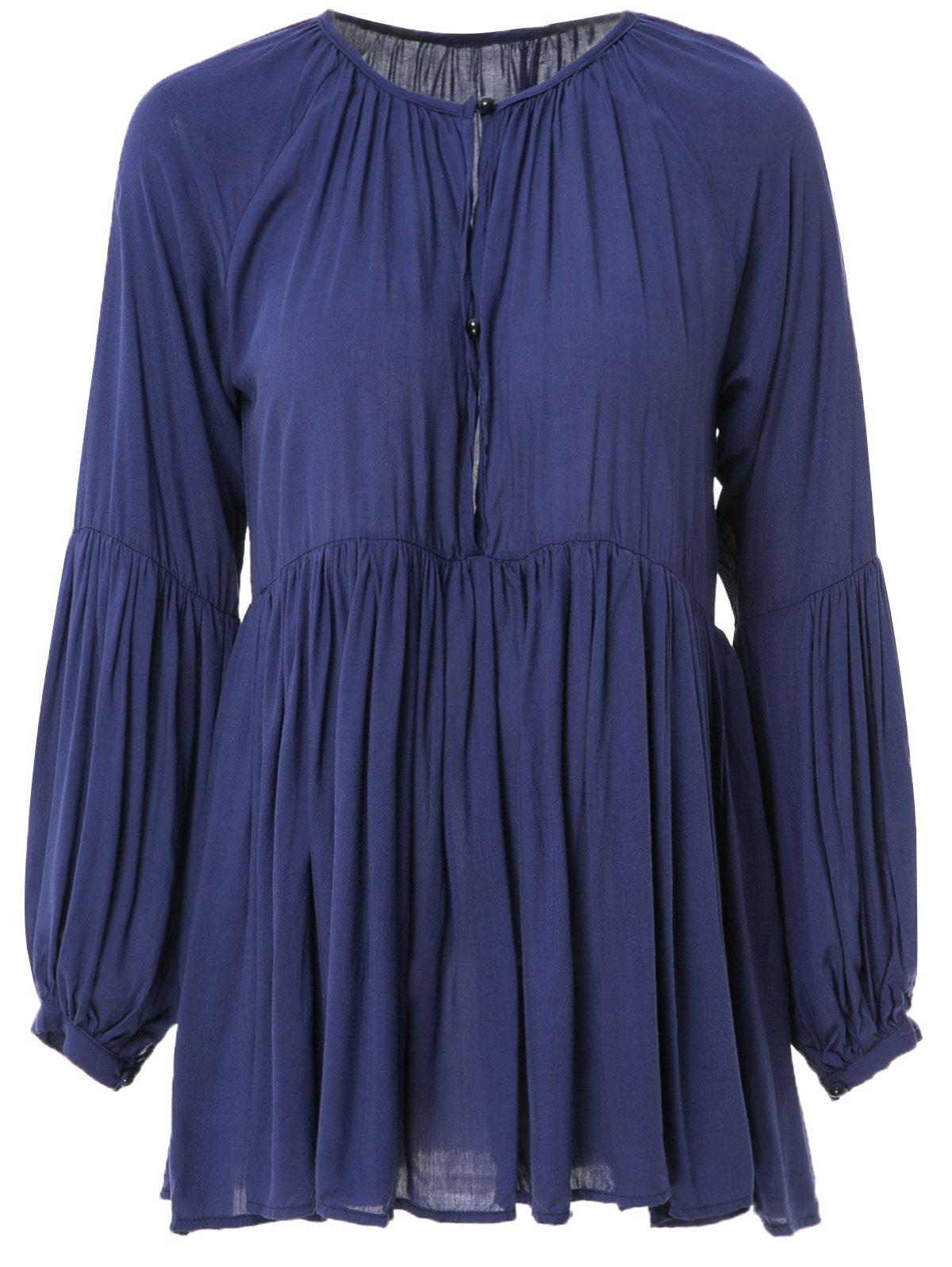 Stylish Long Sleeve Plunging Neck Pleated Solid Color Women's Mini Dress - DEEP BLUE L