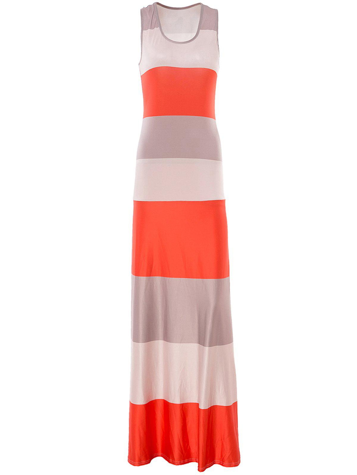 Brief Style Sleeveless U Neck Bodycon Striped Women's Maxi Dress - ORANGEPINK L