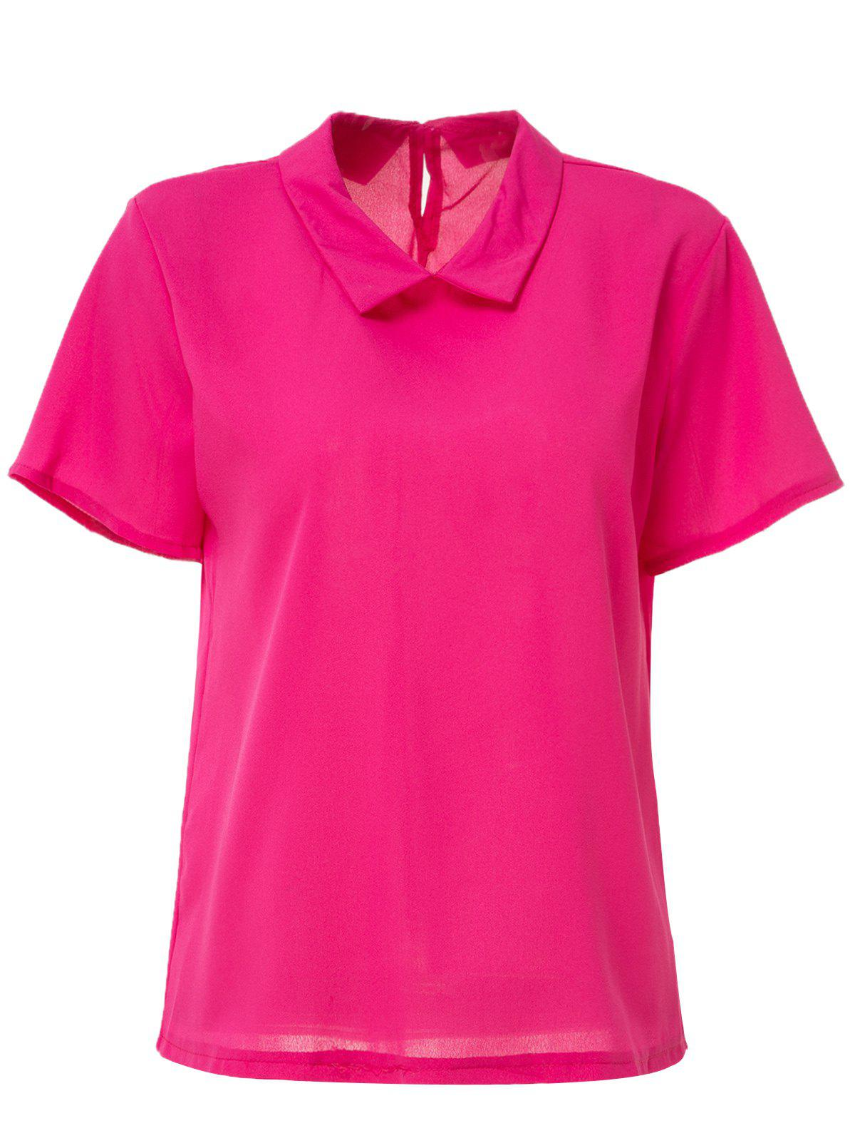Short Sleeve Candy Color Blouse For Women - RED XL
