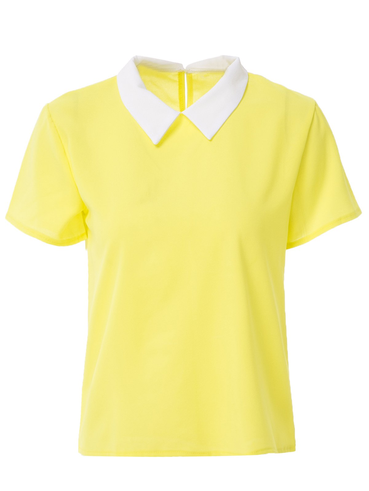 Short Sleeve Candy Color Blouse For Women - YELLOW S