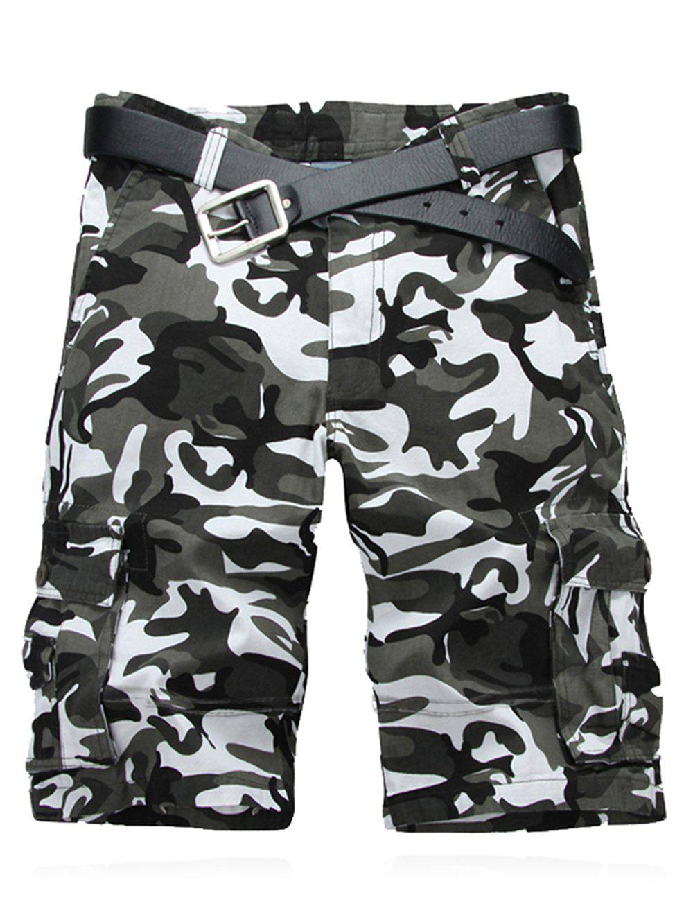 Military Style Straight Leg Multi-Pocket Camo Zipper Fly Men's Cargo Shorts - WHITE 30