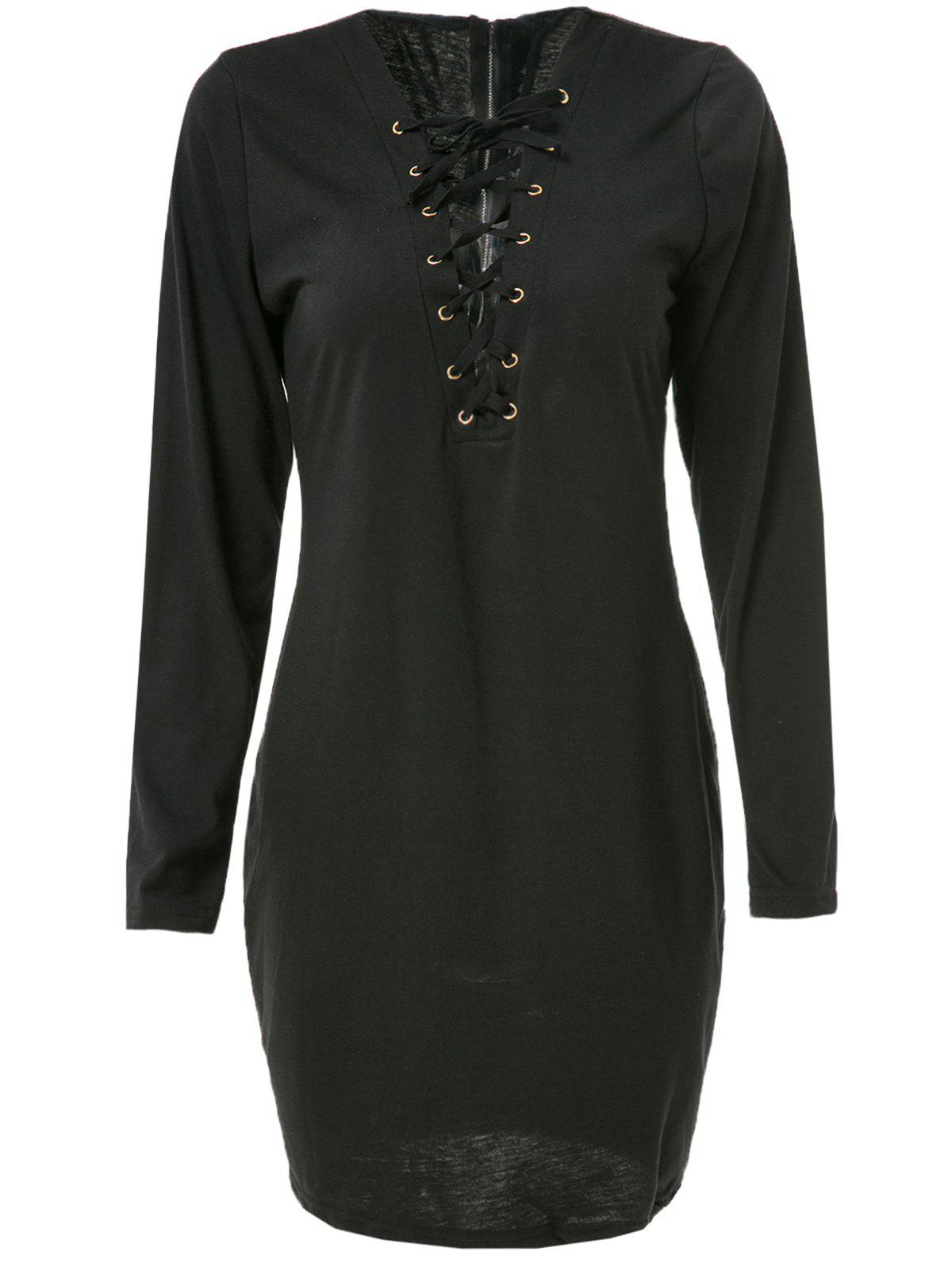 Sexy Long Sleeve Plunging Neck Black Hollow Out Lace-Up Women's Dress - BLACK XL
