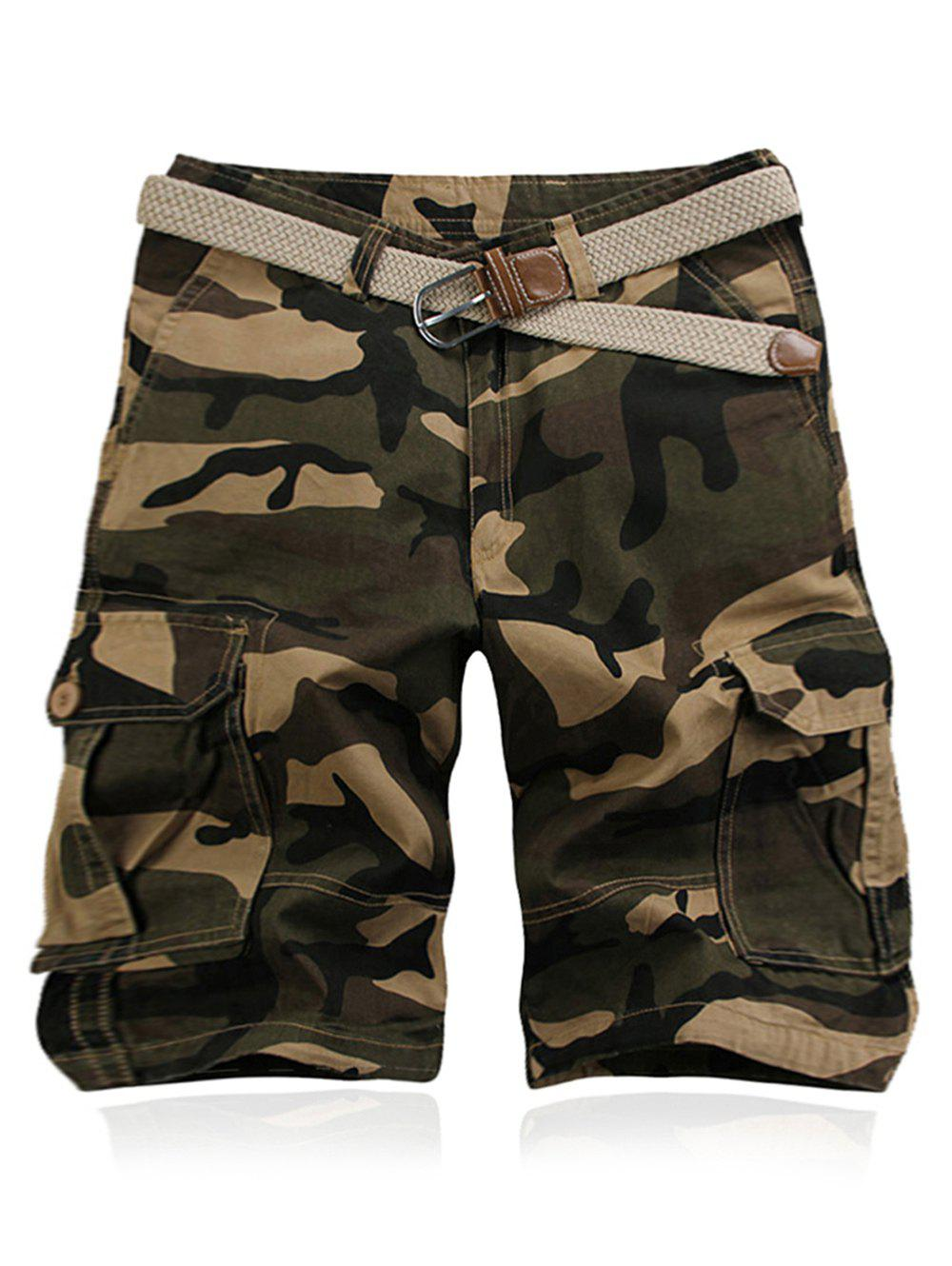 Shorts cargo de style militaire Jambe droite Multi-Pocket Camo Zipper Fly Men - Kaki 36