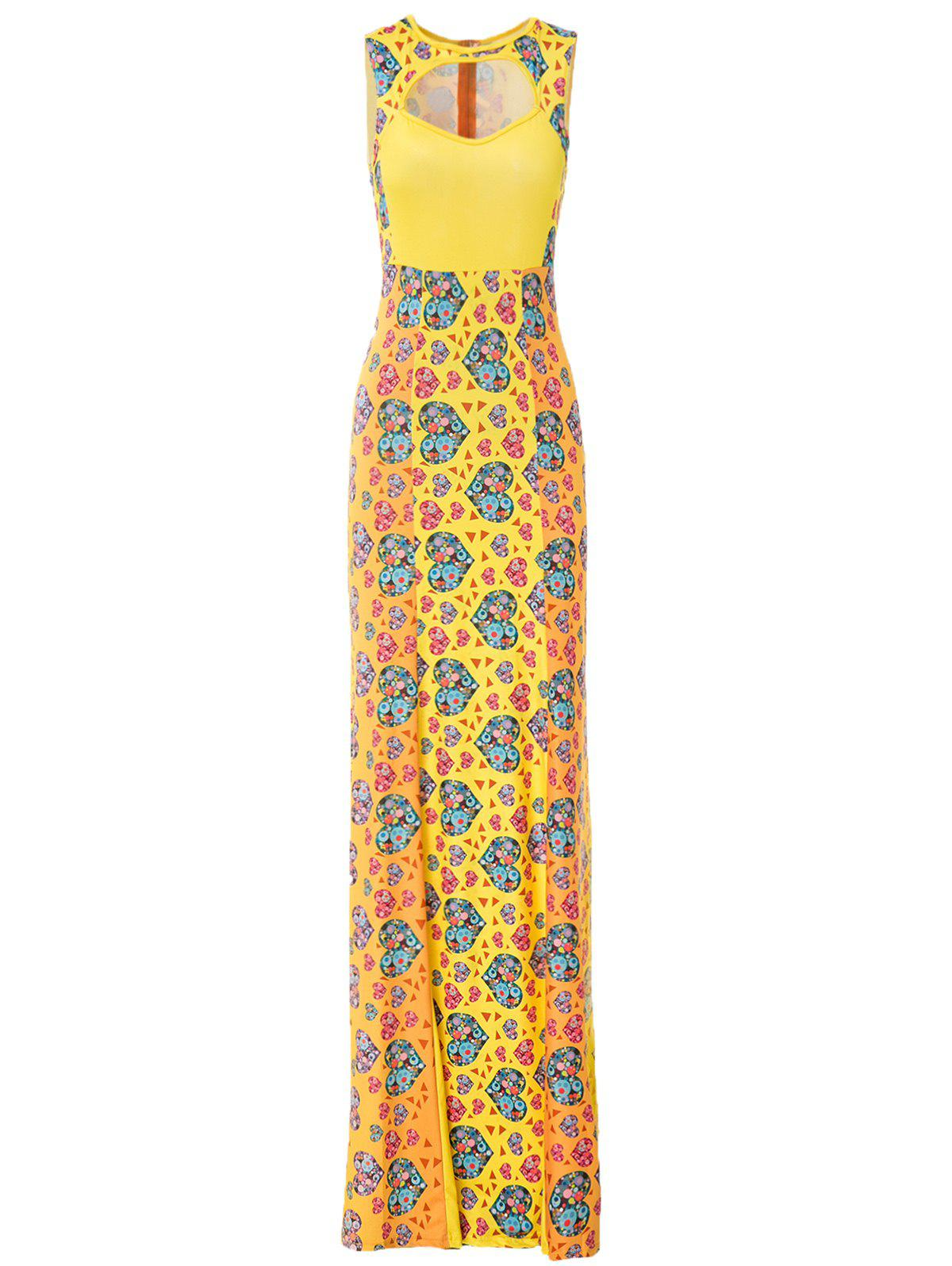 Charming Women's Jewel Neck Sleeveless Hollow Out Heart Print Mermaid Dress - YELLOW L