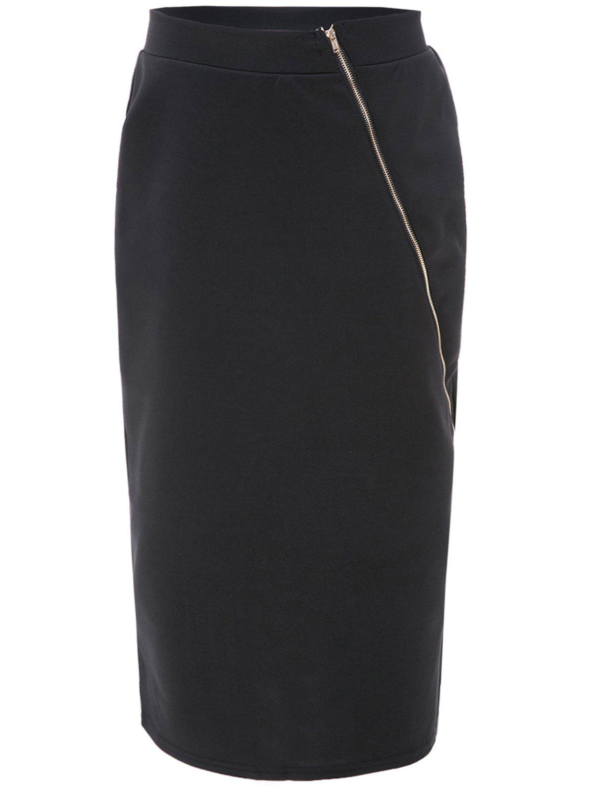 Trendy Zipper Design High Waist Skirt - BLACK ONE SIZE(FIT SIZE XS TO M)