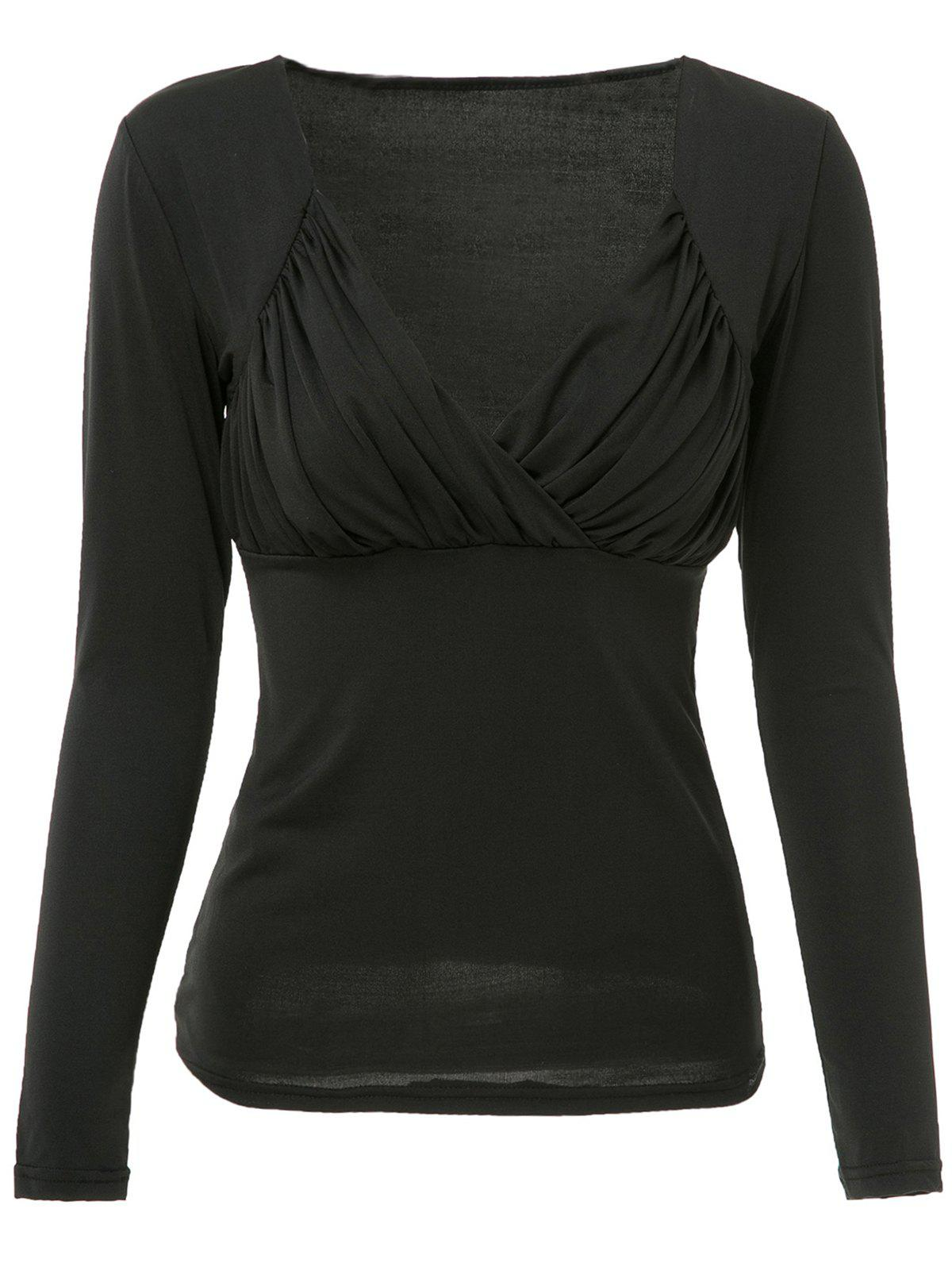 Sexy Low-Cut Ruched Sweetheart Neck Solid Color T-Shirt For Women - BLACK L