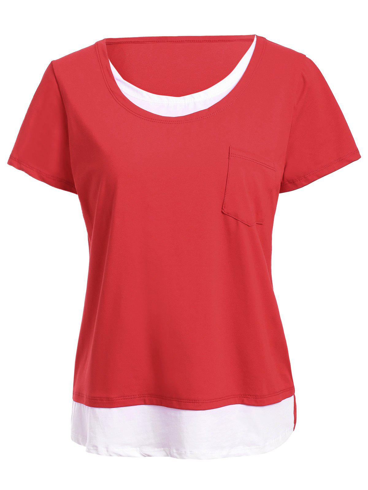 Brief Short Sleeve Patchwork Faux Twinset Tee For Women - RED XL
