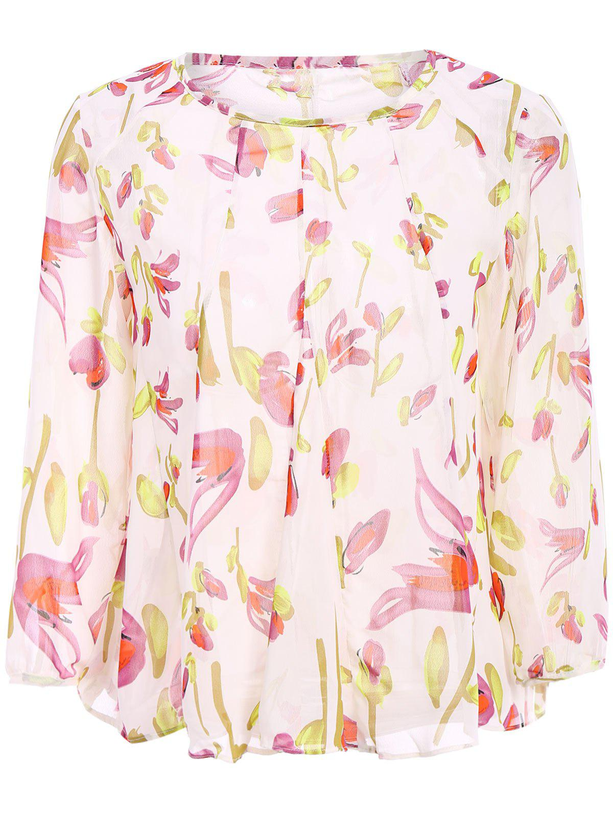 Stylish Long Sleeve Scoop Neck Floral Print Women's Blouse - OFF WHITE M