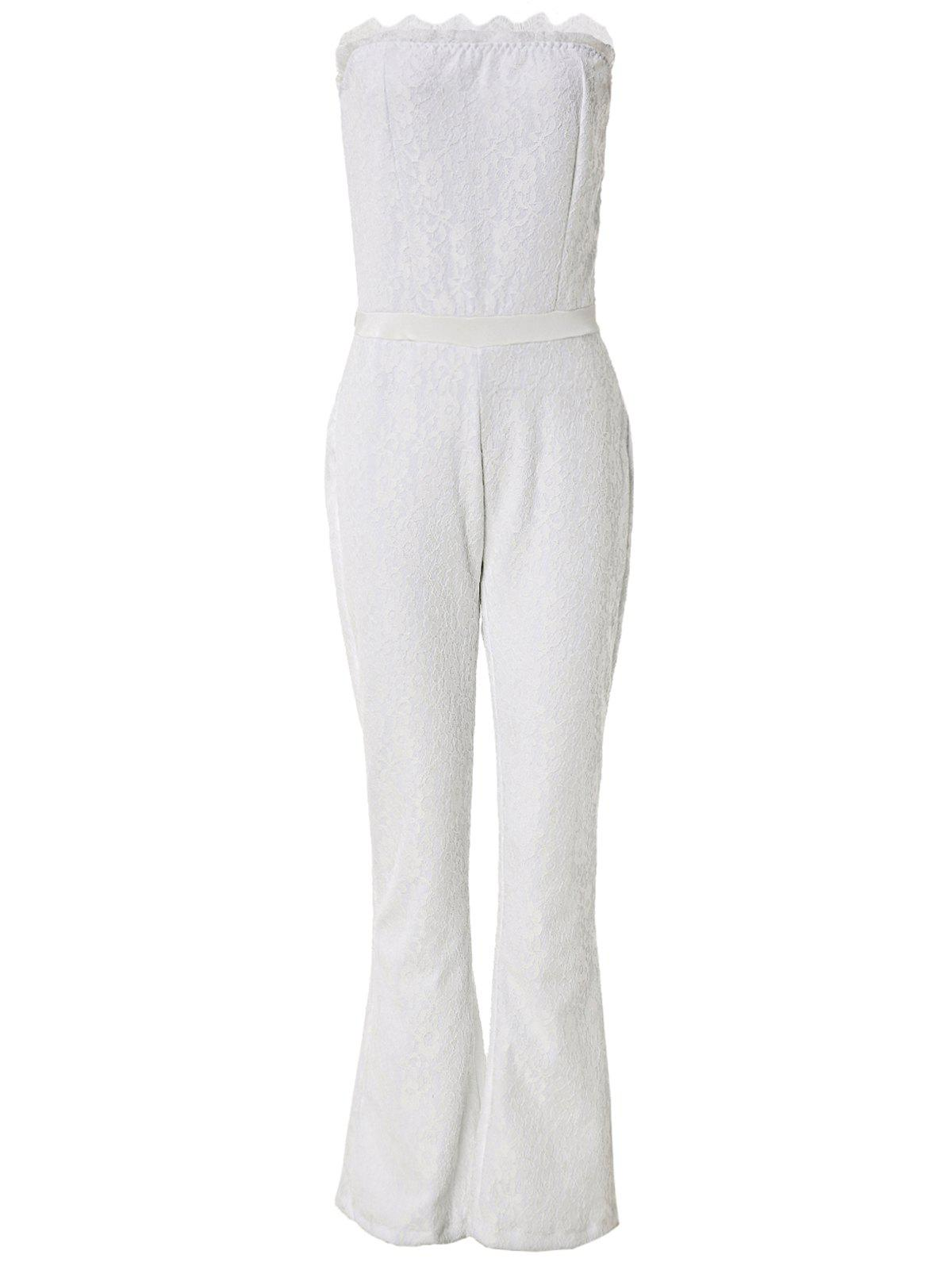 Sexy Women's Strapless Lace Wide Leg Jumpsuit - WHITE S