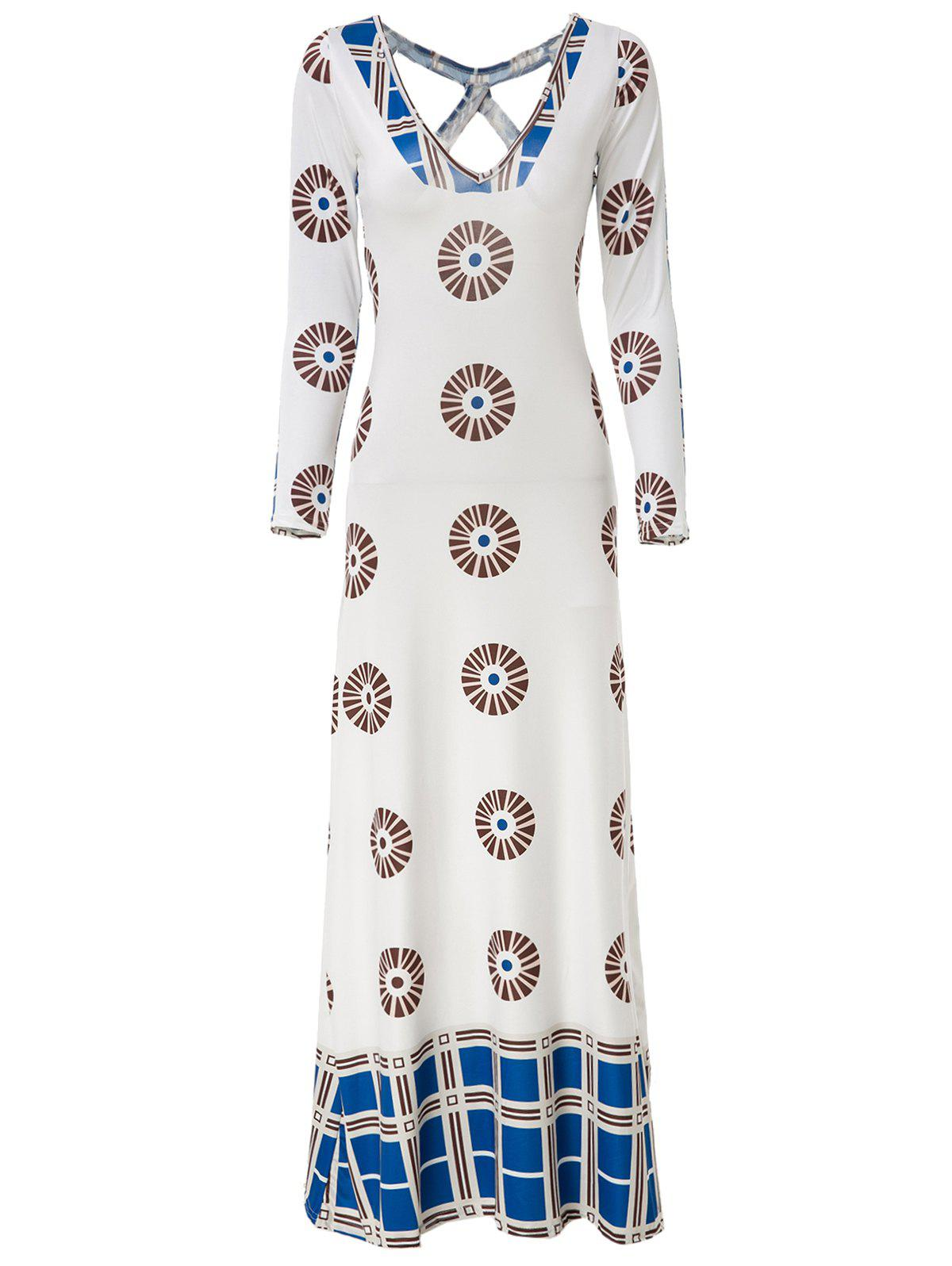 Ethnic Women's Plunging Neck Long Sleeve Printed Backless Maxi Dress - WHITE M