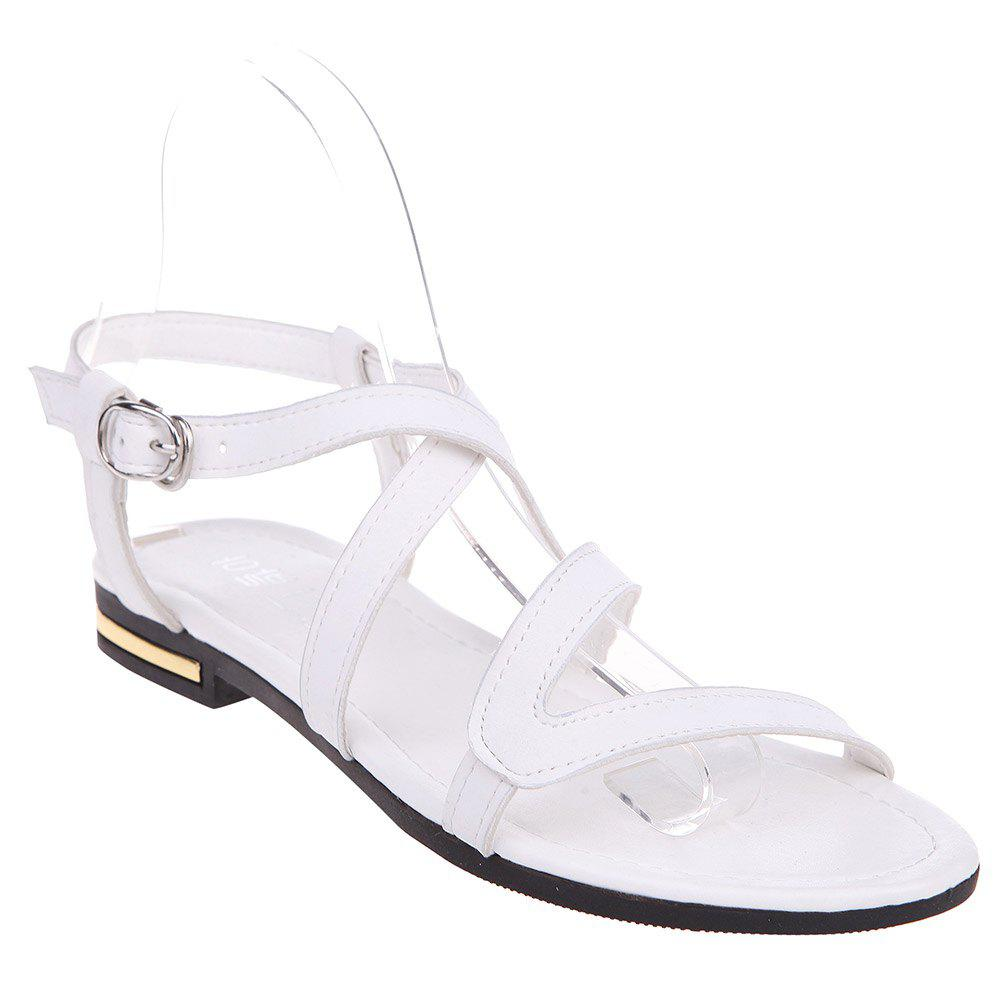 Concise Cross Straps and Flat Heel Design Women's Sandals - WHITE 37