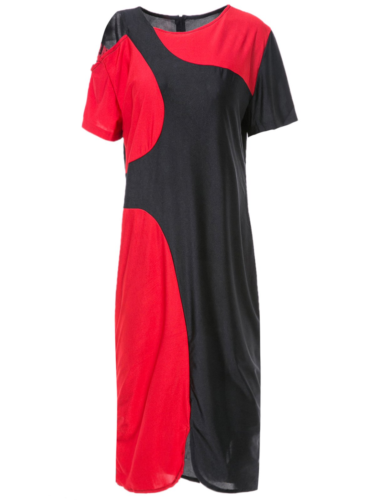 Stylish Round Collar Color Block Cut Out Slit Bodycon Dress For Women - RED/BLACK 2XL