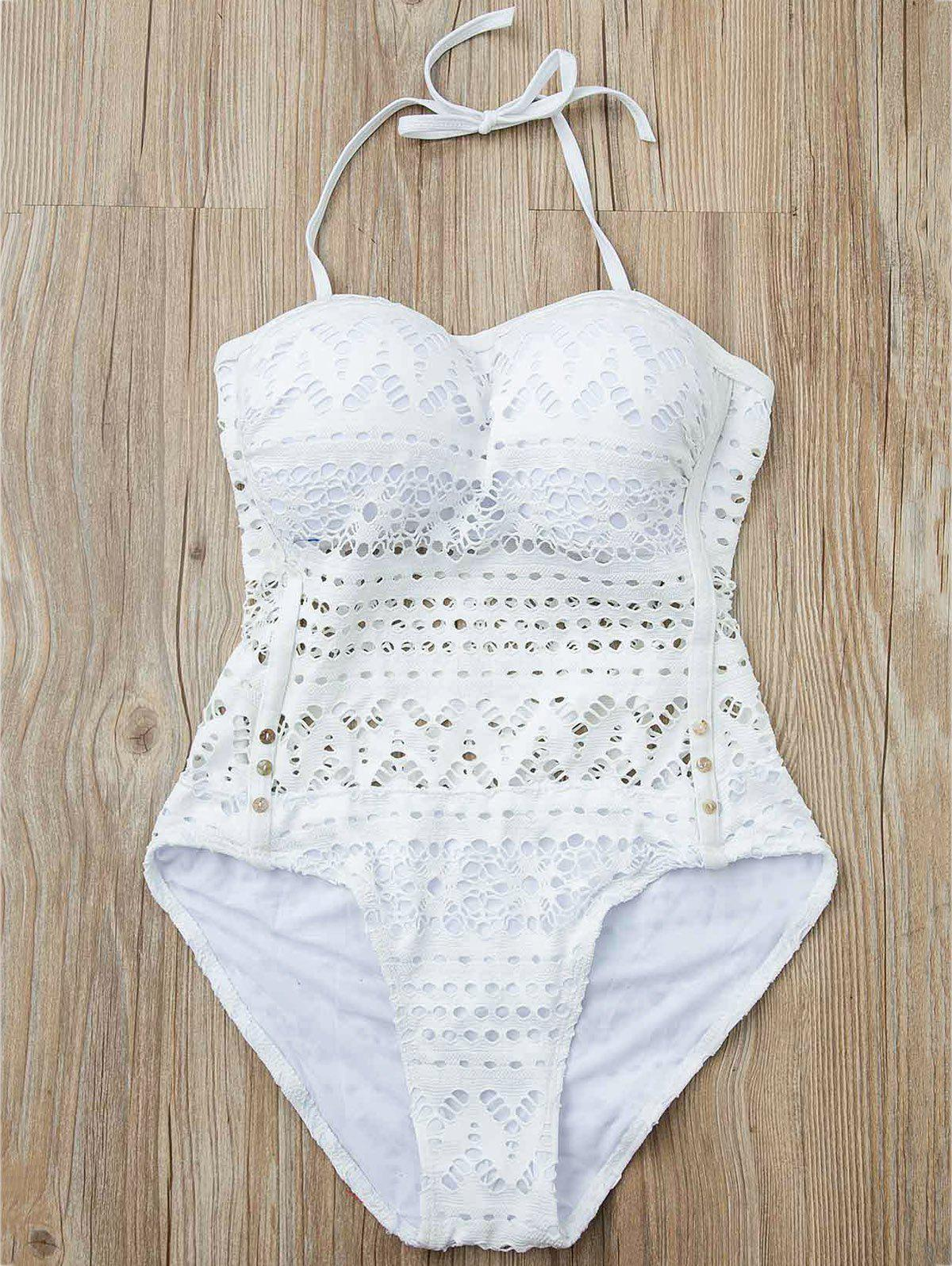 Stylish Women's Halter Hollow Out Mesh Spliced One-Piece Swimsuit - WHITE M