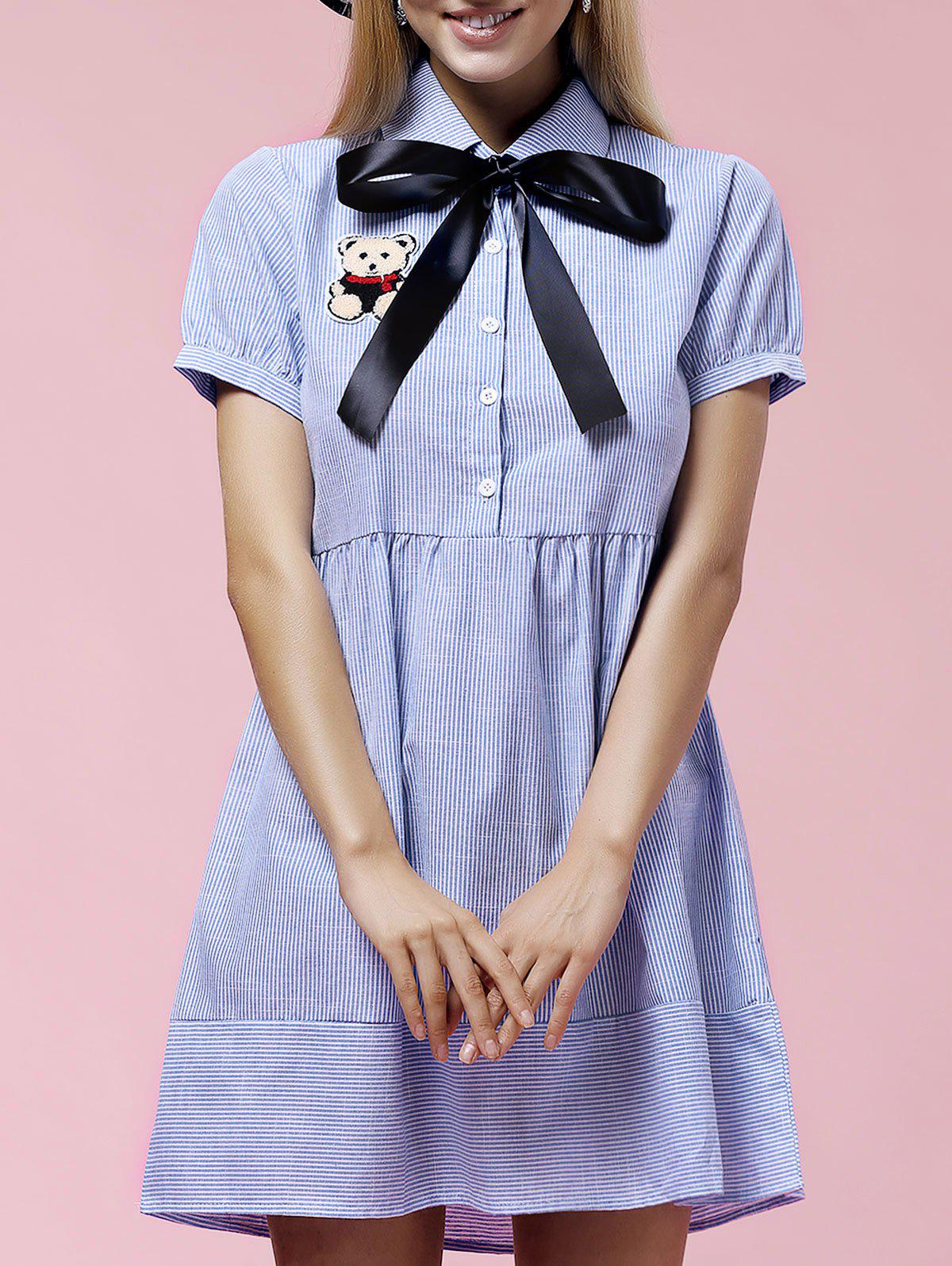 Cute Striped Short Sleeve Bow-Tie Collar Patch Design Women's Dress - BLUE L