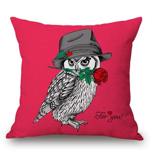 Cute Rose Owl Pattern Square Shape Pillowcase - RED