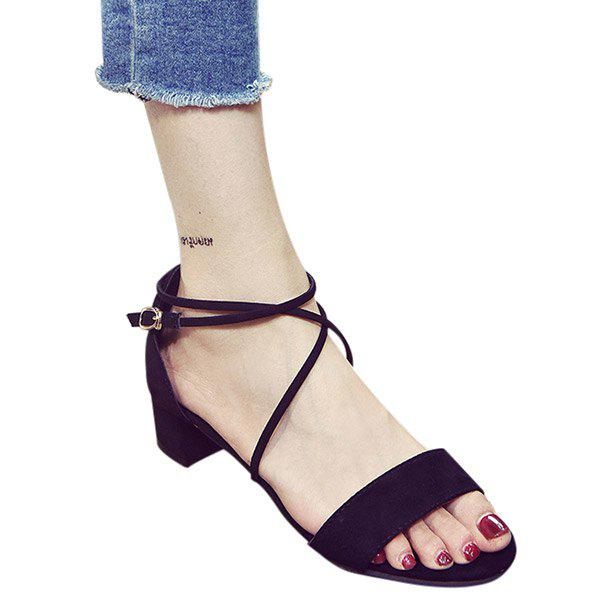 Fashion Chunky Heel and Cross Straps Design Women's Sandals - BLACK 39