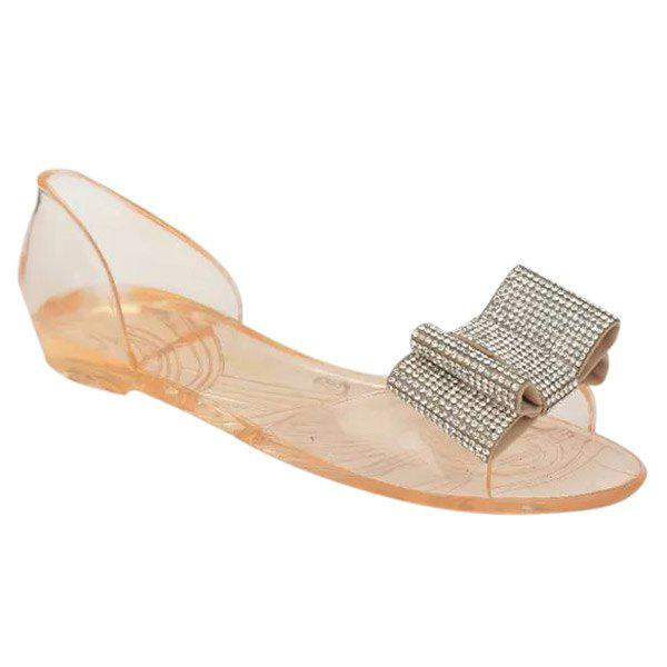 Casual Bow and Transparent Plastic Design Women's Sandals - GOLDEN 39