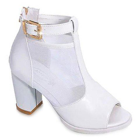 Graceful Splicing and Chunky Heel Design Women's Peep Toe Shoes - WHITE 38