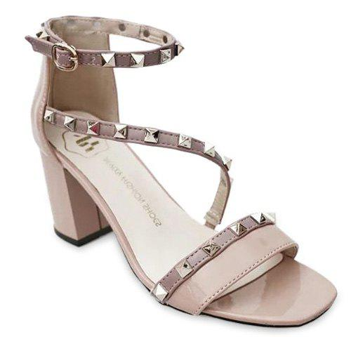 Graceful Square Toe and Rivets Design Women's Sandals - APRICOT 36