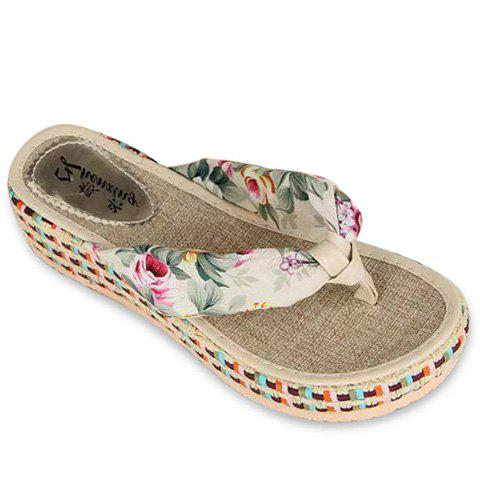 Sweet Floral and Platform Design Women's Slippers - WHITE 39