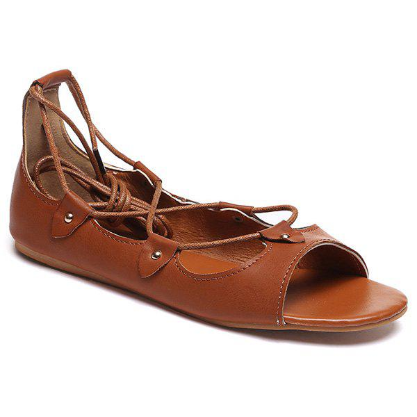 Retro Lace-Up and Solid Color Design Women's Sandals - DEEP BROWN 40
