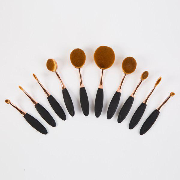 Creative 10 Pcs Multifunction ToothBrush Shape Nylon Face Eye Lip Makeup Brushes Set - ROSE GOLD