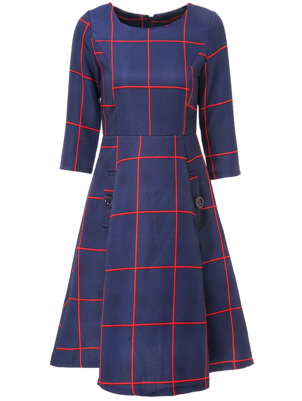 Chic 3/4 Sleeve Round Collar Plaid Women's A-Line Dress