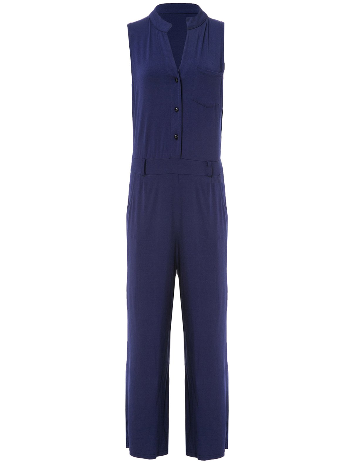 Elegant Purplish Blue Stand Collar Sleeveless Jumpsuit For Women - PURPLISH BLUE L
