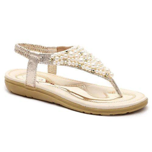Retro Beading and Elastic Band Design Women's Sandals