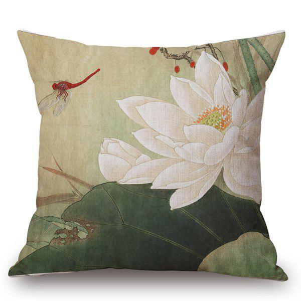 Chinese Traditional Painting Water Lily Pattern Square Shape Pillowcase