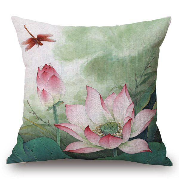 Chinese Red Lotus Painting Pattern Square Shape Pillowcase - COLORMIX
